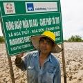 À l'entrée de l'immense parcelle de reforestation en mangroves, accessible à pied à marée basse.